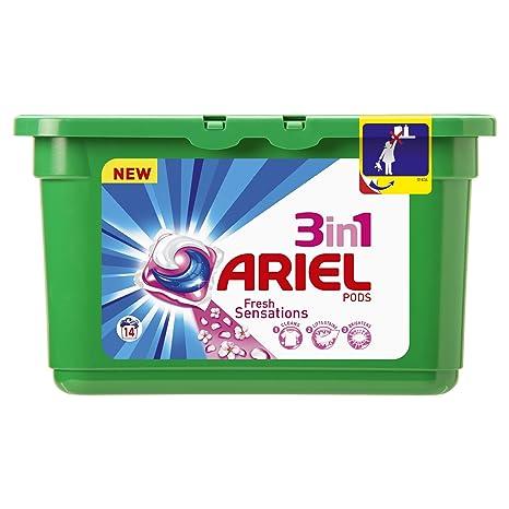 Ariel - Cápsulas de detergente 3 en 1-14 unidades - [pack de 2