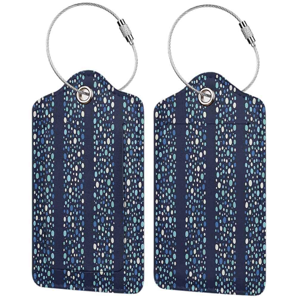 Flexible luggage tag Abstract Little Dots Circles in Different Shades on Striped Bands Stylish Display Fashion match Indigo Violet Blue W2.7 x L4.6