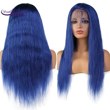 Blue Human Hair Wigs Brazilian Hair Wigs With Baby Hair Pre-plucked Lace Wigs Bule