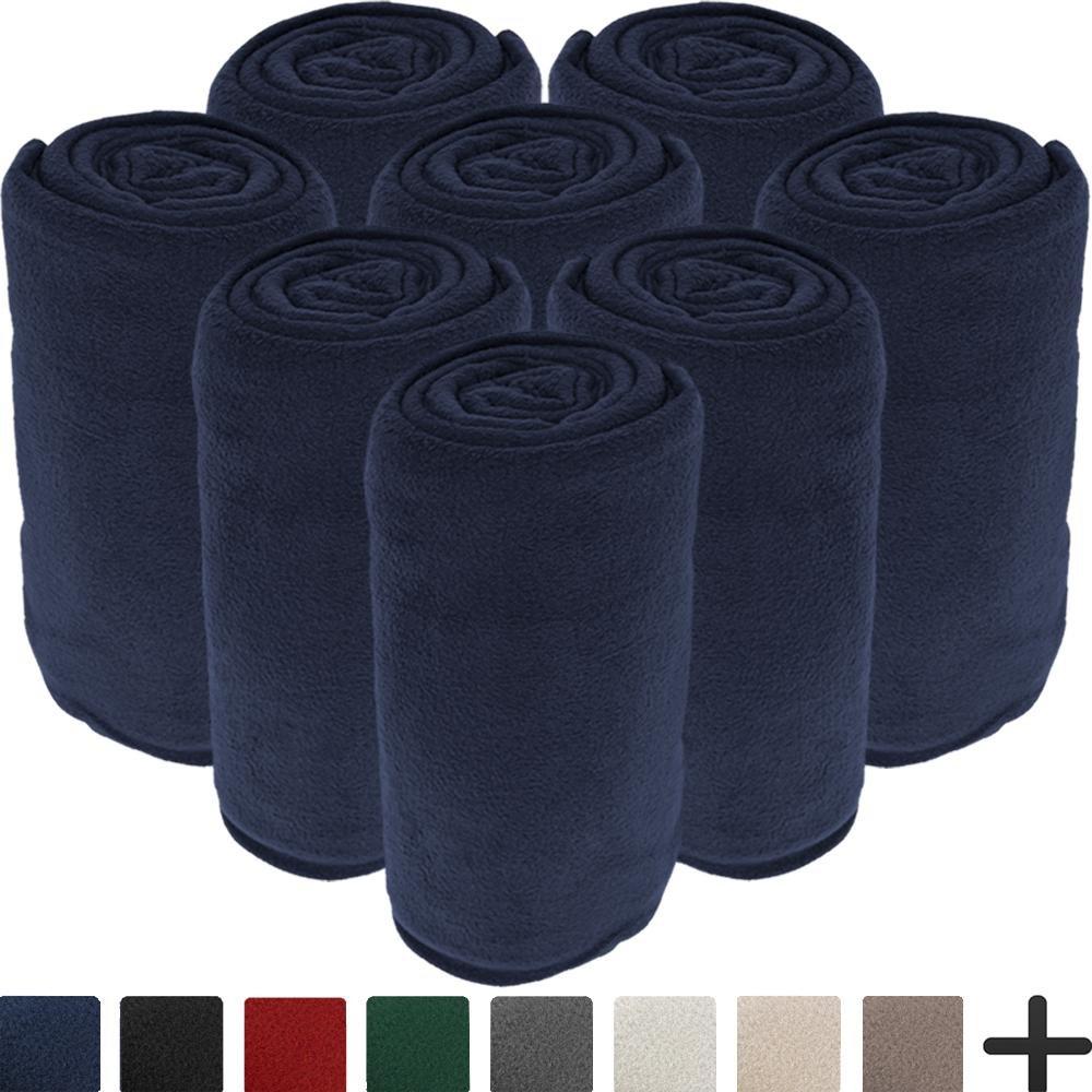 8 Pack Microplush Blankets - Ultra-Soft Velvet - Luxurious Fuzzy Fleece Fur - All Season Premium Bed Blanket - Wholesale Bulk Pack (Twin/Twin XL, Dark Blue)