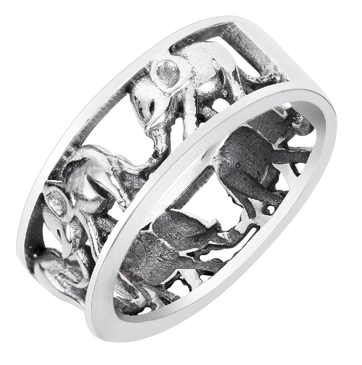CloseoutWarehouse Sterling Silver Elephant Family Migration Ring Oxidized Size 8