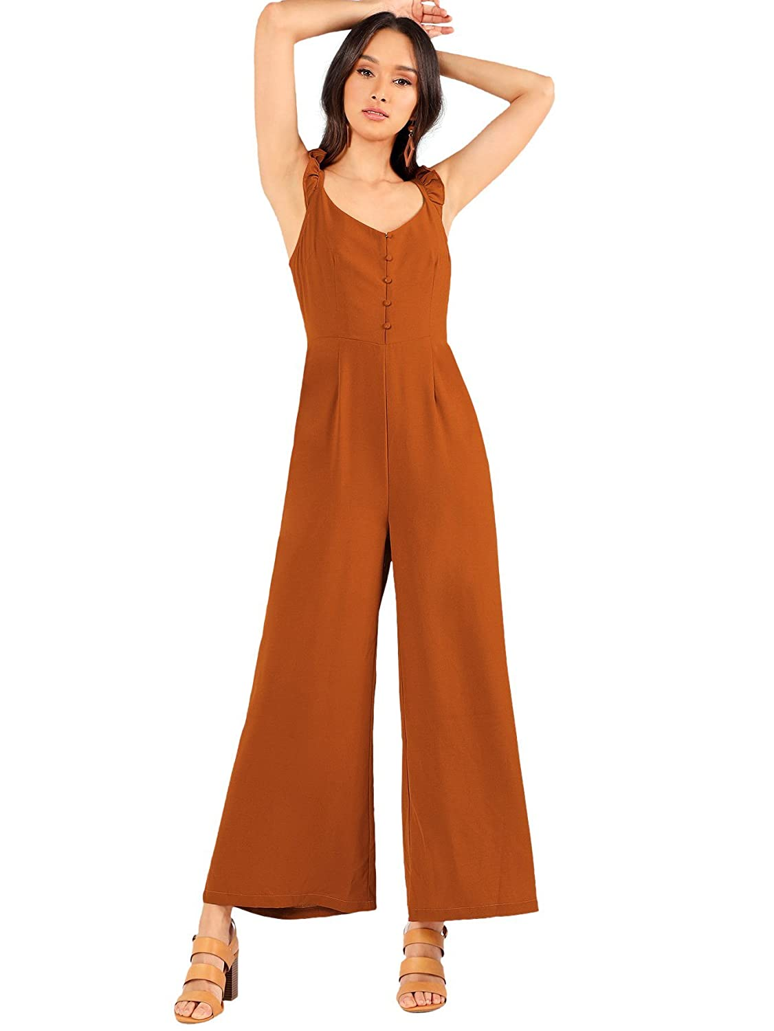 8fd93db5373 Amazon.com  SheIn Women s Sleeveless Solid Wide Leg Long Pants Culotte  Jumpsuit Rompers X-Small Brown  Clothing