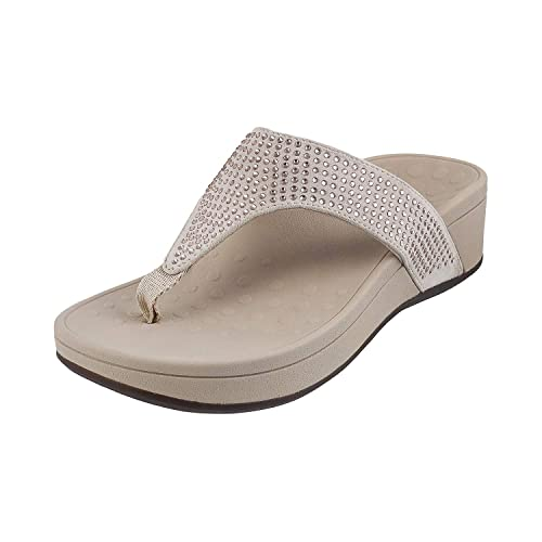 a277c638ae Vionic Pacific Naples Toepost Women Textile Off White Wedge (279-182380)   Buy Online at Low Prices in India - Amazon.in