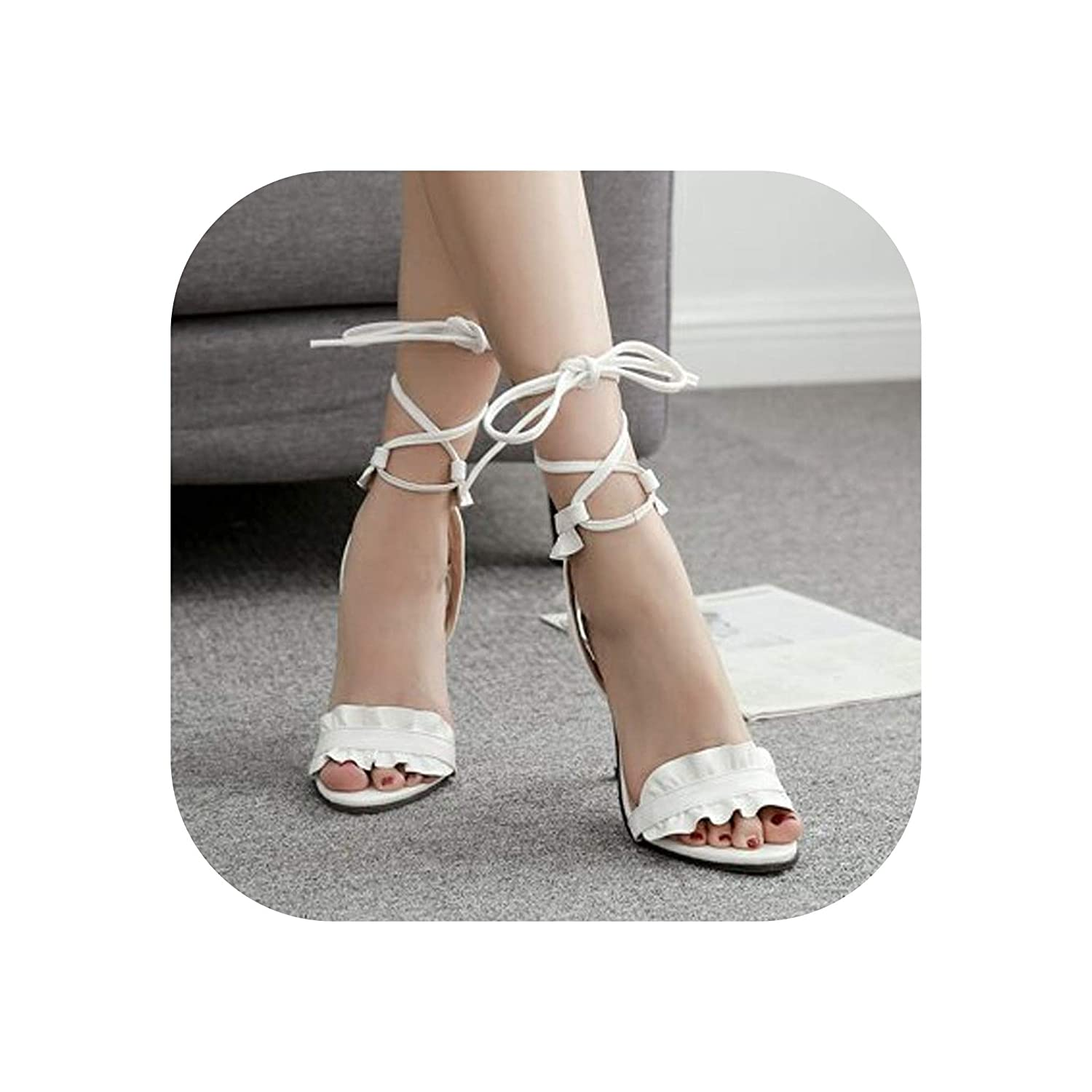 White High Stiletto Heels Sandals Women Pumps Thin Heel Ruffle Lace-Up Summer shoes