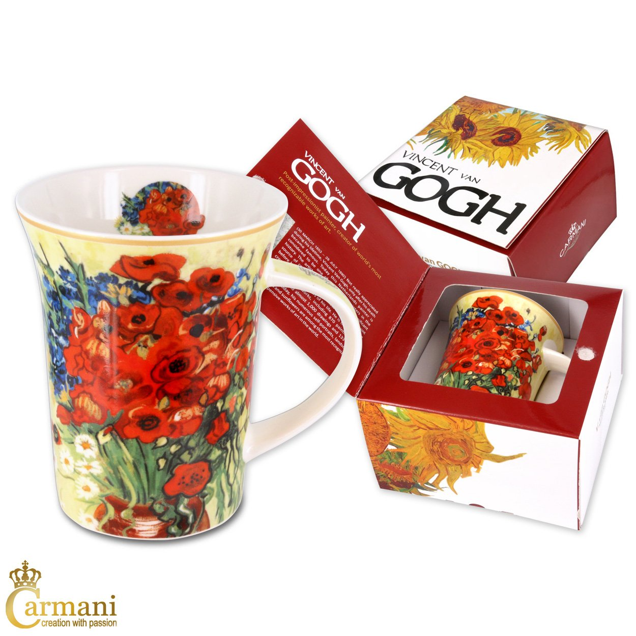 CARMANI - Porcelain Mug Decorated with 'Red Poppies and Daisies' by Vincent Van Gogh 350ml