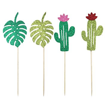 Amosfun 12pcs Cupcake Toppers Glitter Cactus Monstera Hawaii Cake Toppers Selecciones para Baby Shower Cumpleaños Boda Hawaii Party Cake Decoración ...