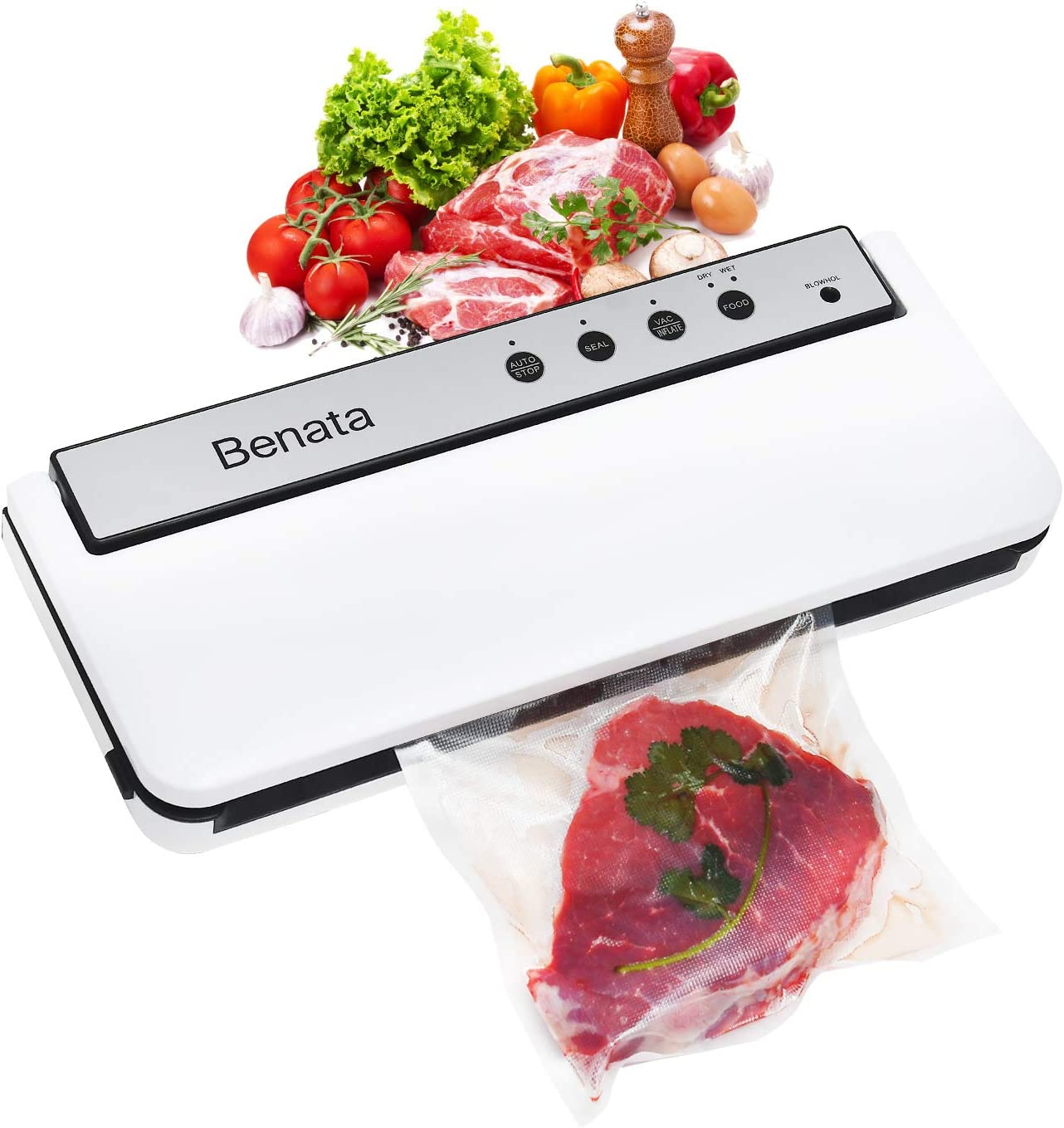 BENATA Vacuum Sealer Machine, 60Kpa Automatic Food Sealer, Dry & Moist Modes, Food Saver Laminator, Bonus 10 x Sealing Bags & 1x Canning Vacuum Sealer pipe (Pearl White)