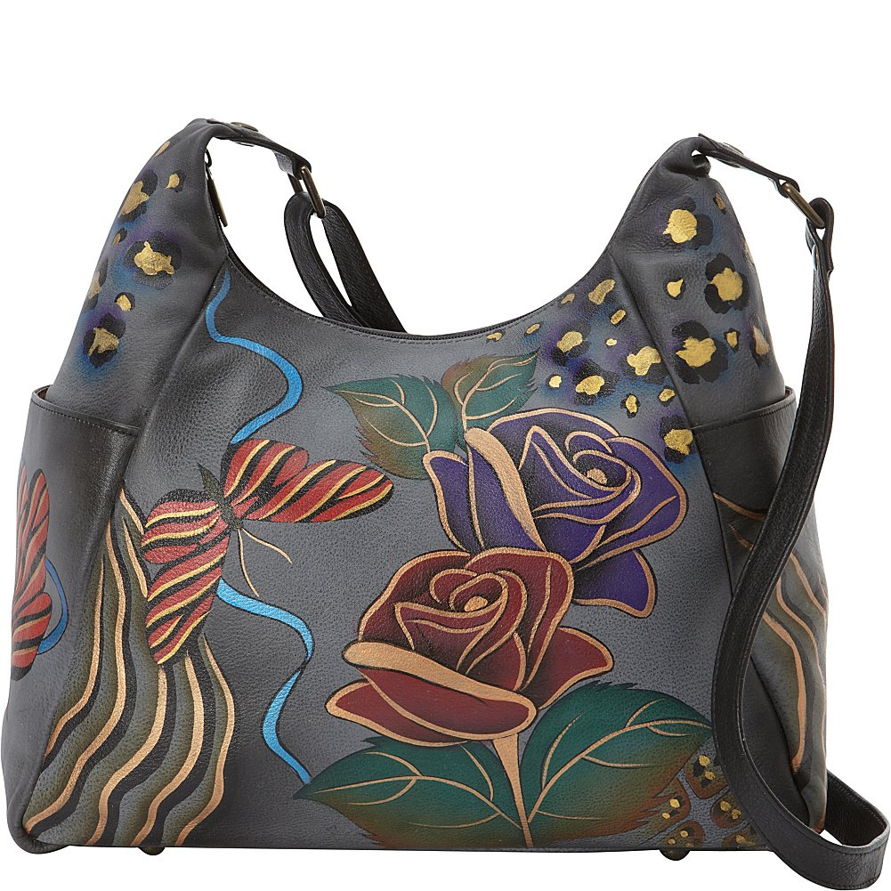 Anuschka Anna Handpainted Large Multi Pocket Hobo, Rose Safari Grey, Rsg-Rosee Safari Grey