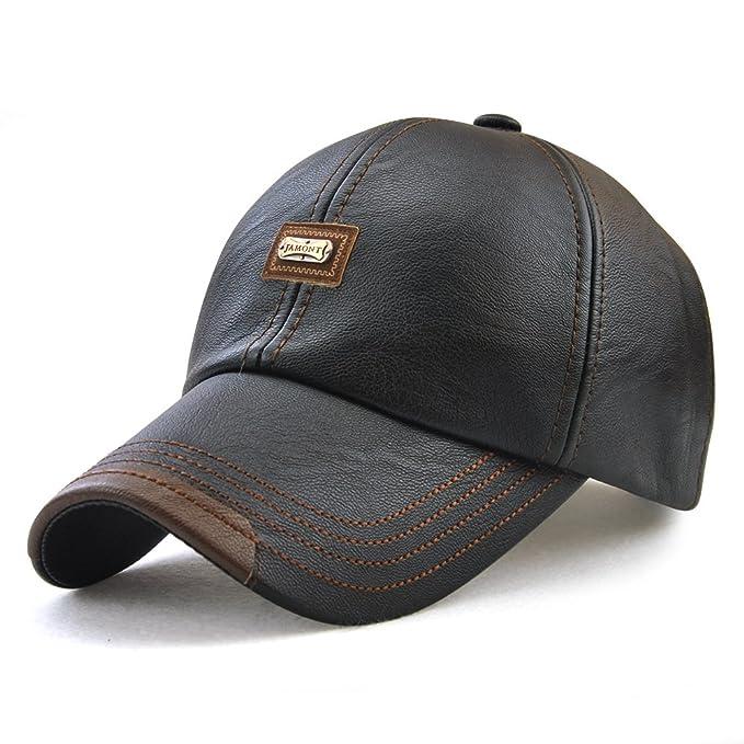 nouveau produit modèle unique les mieux notés dernier JAMONT PU Leather Baseball Cap Casquette Flat Hat European and American  Retro Style for Men