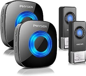 Wireless Doorbell PHYSEN Waterproof Door bells Chimes with Mute Mode,58 Doorbell Chime, 5 Volume Levels,1000-ft Range,2 Receivers & 2 Doorbell Button for Home with LED Strobe -Model CW,Black