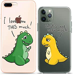 Cavka Matching Couple Cases Compatible with iPhone 12 Pro 5G Mini 11 Xs Max 6s 8 Plus 7 Xr 10 SE X 5 Friends Clear Cover Love Unique I Love You This Much Design Soft Dino T-Rex Slim fit Print Flexible