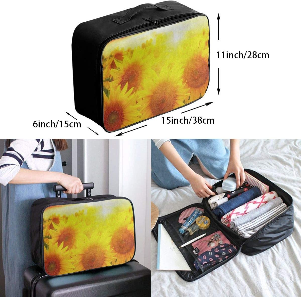 Travel Bags Colored Sunshine Sunflower Field Portable Foldable Personalized Trolley Handle Luggage Bag
