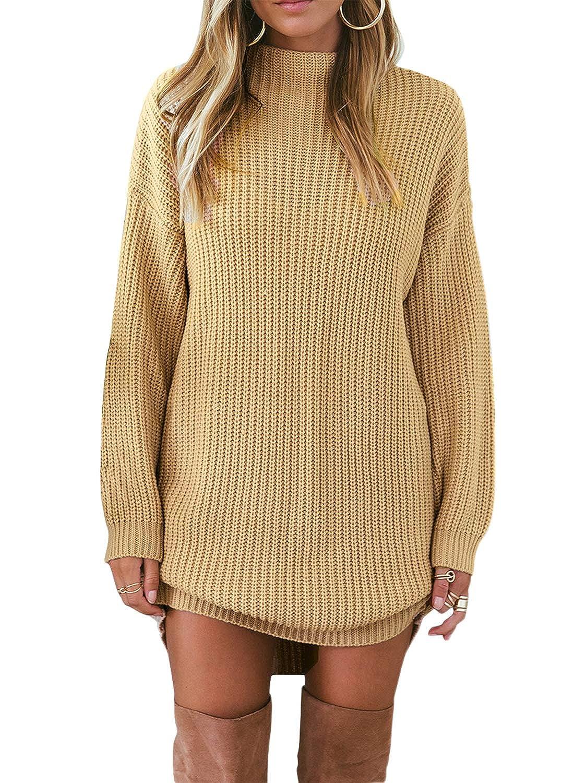Asvivid Womens Casual Long Sleeve Crewneck Ribbed Knit Loose Jumper Pullover Sweater Mini Dress AF27971-P