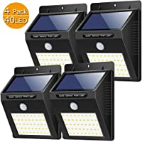 Luz Solar Exterior,【180 ° Super Brillante-4 Piezas】Yacikos Foco Solar LED 40 con Sensor de Movimiento Impermeable…