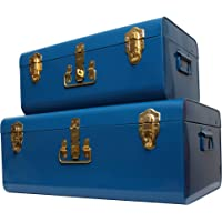 Zanzer Trunk Set - Vintage Style Storage w/Gold Finish Handles & Locks - Space Saving Organizer Home Dorm & Office Use (Blue, 2 Trunks)