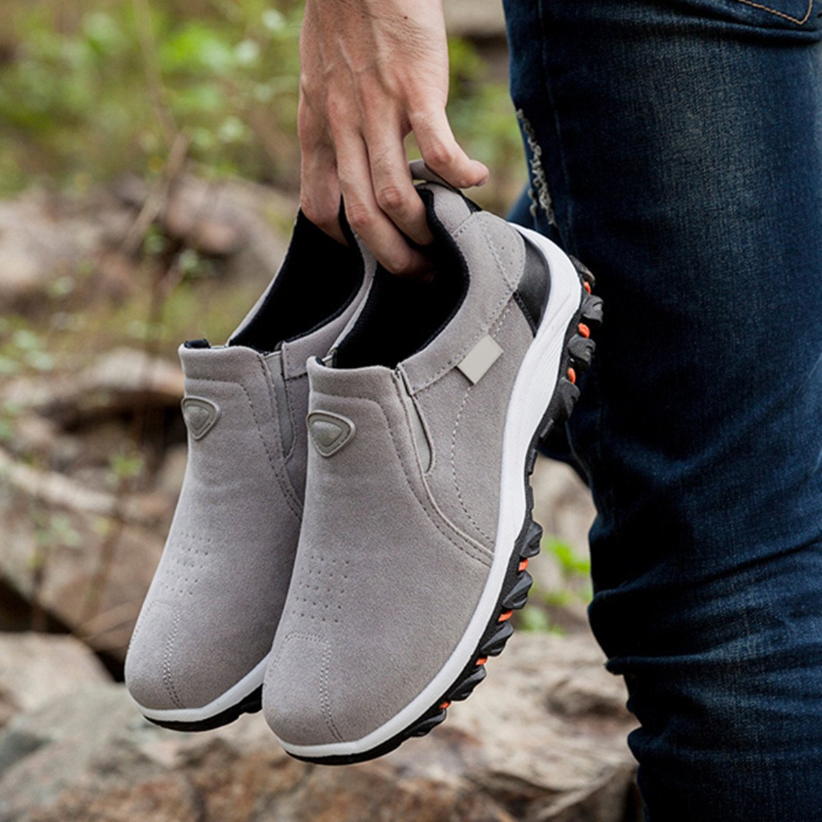 Gracosy Suede Hiking Shoes, Men's Suede Fashion Sneaker, Outdoor Athletic Slip On Shoes, Casual Shoes - Breathable, Slip-Resistant Grey 44 EU