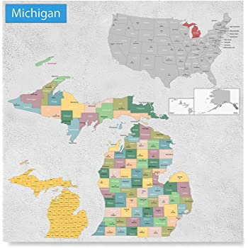 Amazon.com: MICHIGAN ROAD MAP GLOSSY POSTER PICTURE PHOTO state city ...