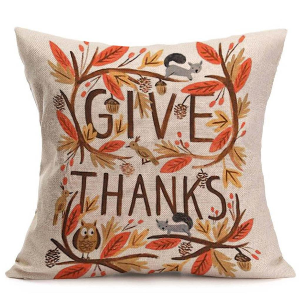 Lavany PillowCases Decorative, Happy Fall Thanksgiving Day Leaf Soft Linen Pillow Case Cushion Cover Home Decor Decorations Square 18x18 Inch (C)