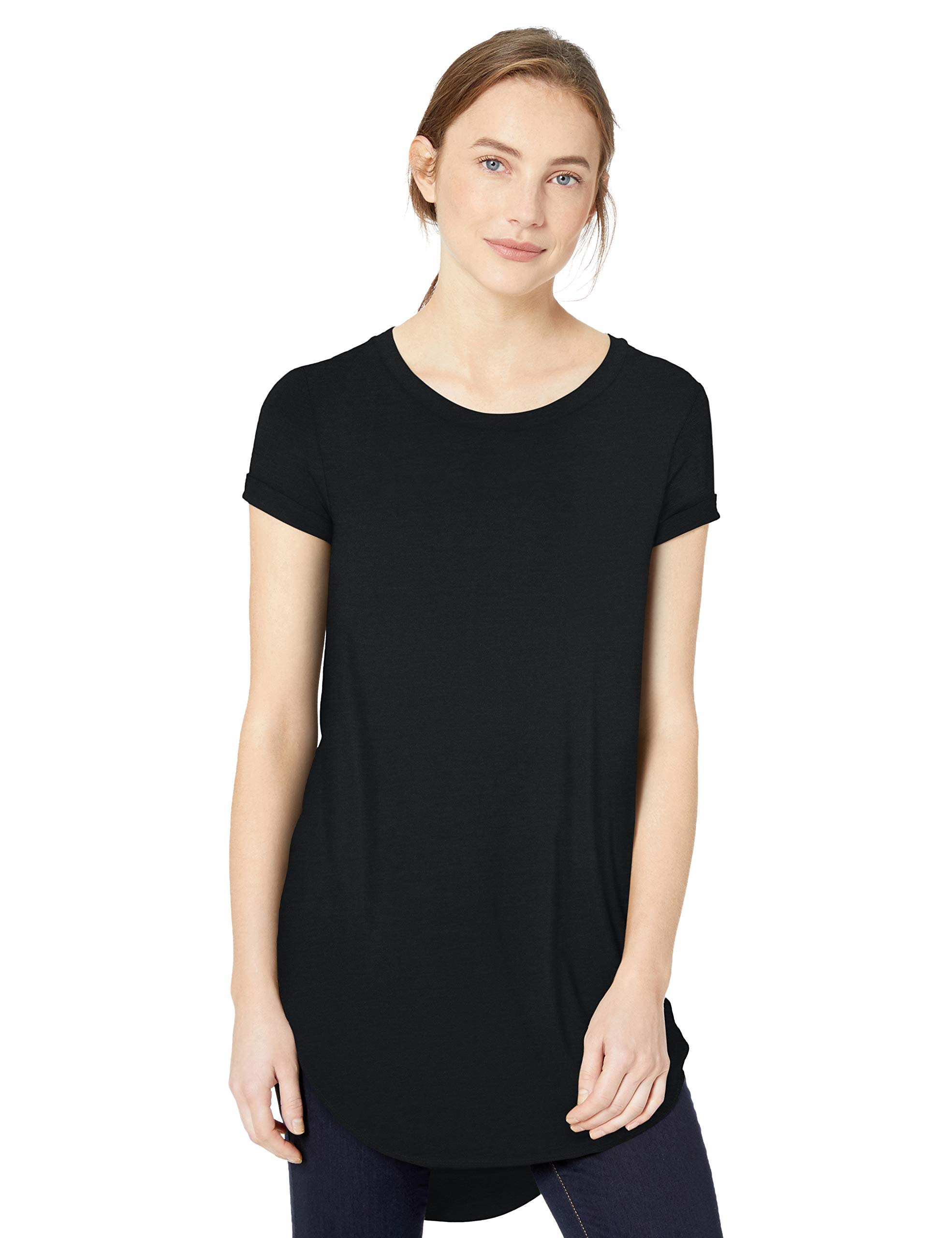 Amazon Brand - Daily Ritual Women's Jersey Short-Sleeve Open Crew Neck Tunic, Black, Large by Daily Ritual