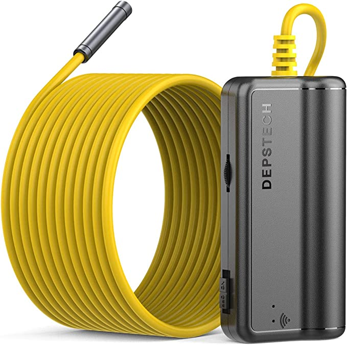 DEPSTECH Wireless Borescope Upgraded HD 2.0 MP WiFi Endoscope Rechargeable Inspection Camera with 2200mAh Battery Snake Camera for Android and iOS Smartphone Tablet-11.5ft