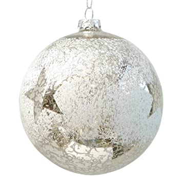 4 Baumkugeln Glaskugel Weiss Silber Spiegelnd Mit Sternen