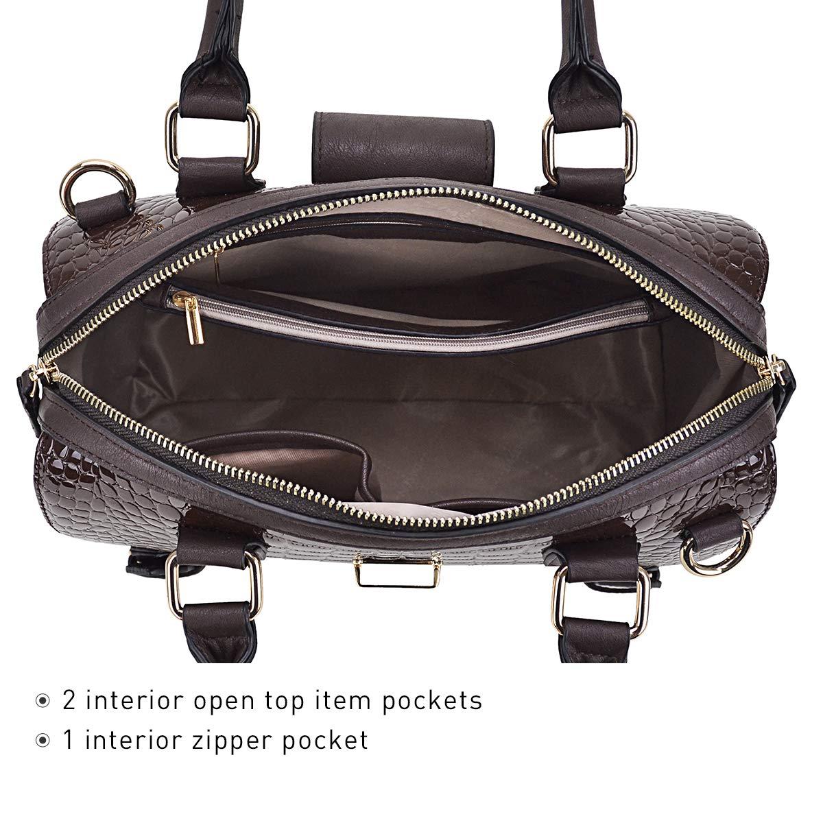 Dasein Women Barrel Handbags Purses Fashion Satchel Bags Top Handle Shoulder Bags Vegan Leather Tote Bags by Dasein (Image #6)
