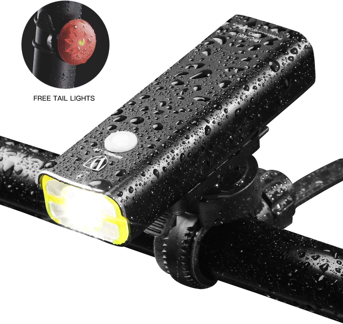 USB Rechargeable Bike Light,400 Lumens a Brighter Bicycle Light Wide Long Cover Range – 85 and Free Rear LED Bicycle Light,2500mah Lithium Battery,4 Light Mode Options, Water Resistant IPX4
