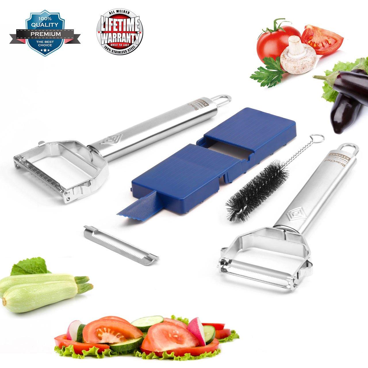 Citrus Stainless Steel Peeler Set/— Dual Julienne /& Vegetable Peeler for Potato Carrot Apple