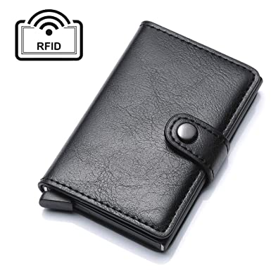 ce4712f6be6ec UNYU Credit Card Holder RFID Blocking Wallet Slim Wallet PU Leather Vintage  Aluminum Business Card Holder Automatic Pop-up Card Case Wallet Security  Travel ...