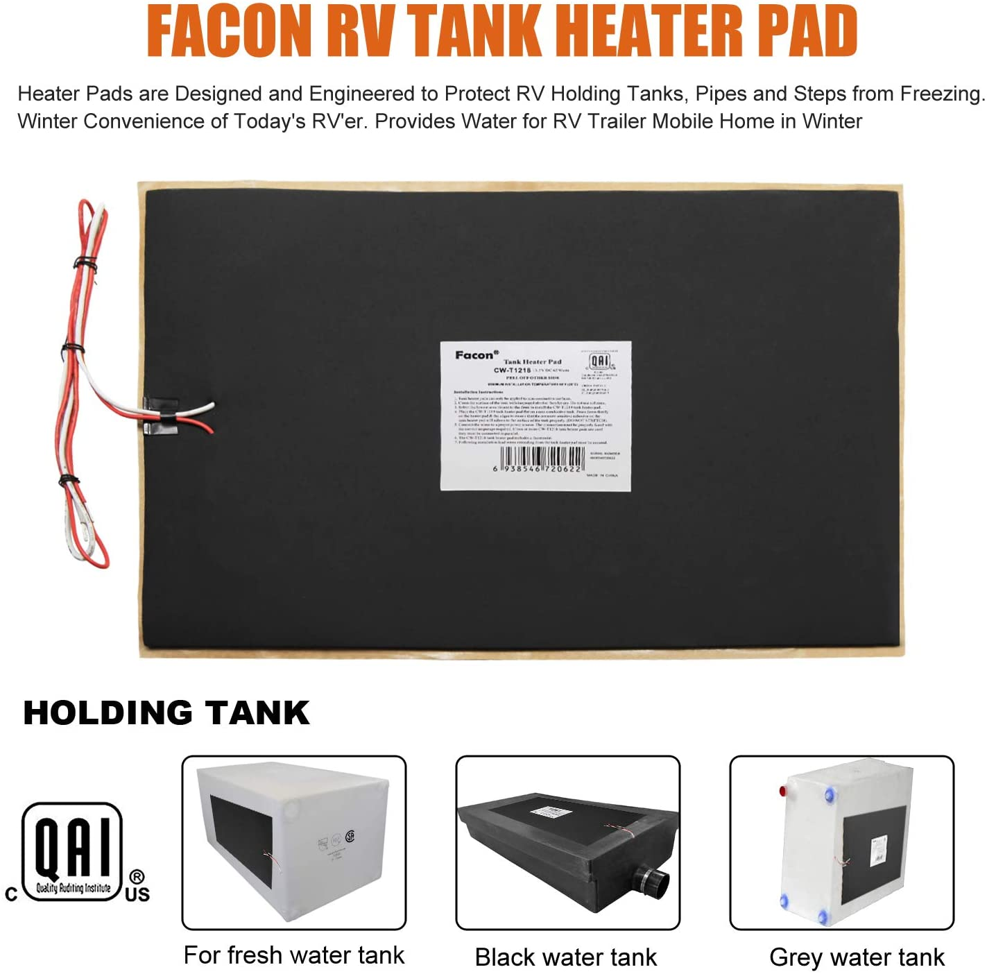 Holding Tank with Optional Toggle Switch Up to 20 to 40 Gallons Fresh Water Grey Water RV Tank Heater Pad 8 x 25 1 Pad, No Toggle Switch 120V