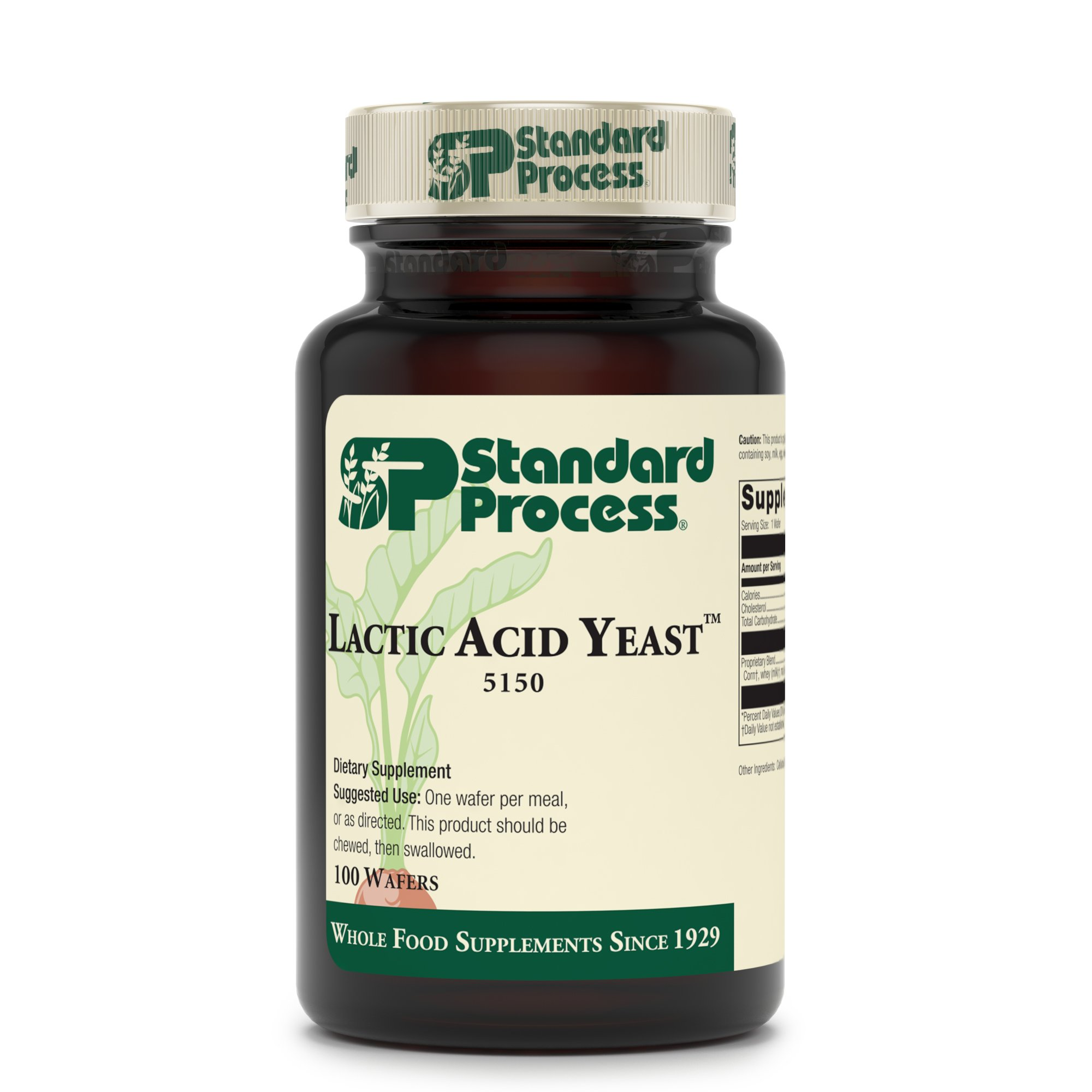 Standard Process Lactic Acid Yeast - Whole Food GI, Digestion and Digestive Health, Saccharomyces cerevisiae - 100 Wafers