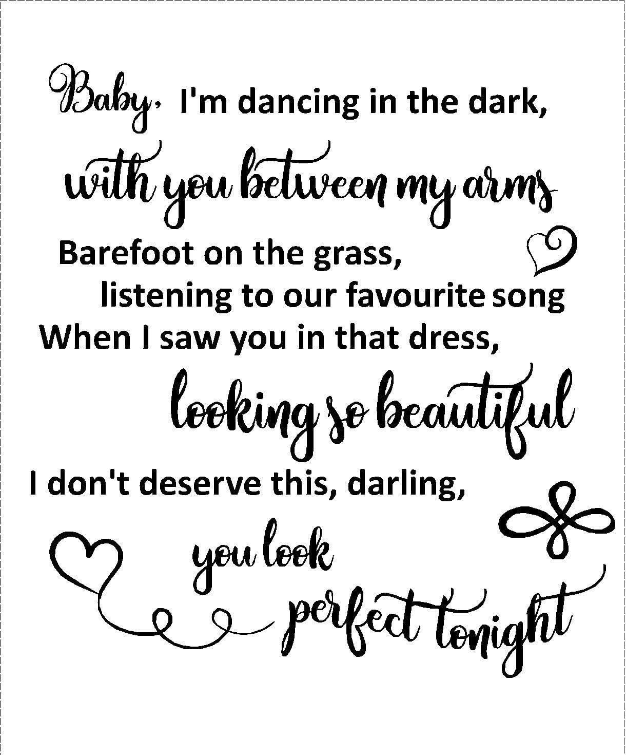 Lightningsigns Perfect Ed Sheeran Love Songtext Für Hochzeit Wanddekoration Mattes Schwarz Amazon De Baumarkt