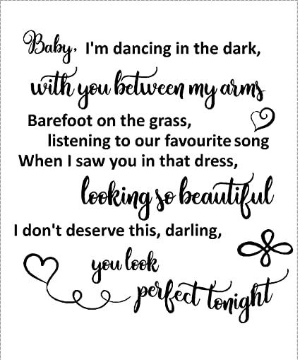 Perfect Ed Sheeran Love song Lyrics wedding wall art Home