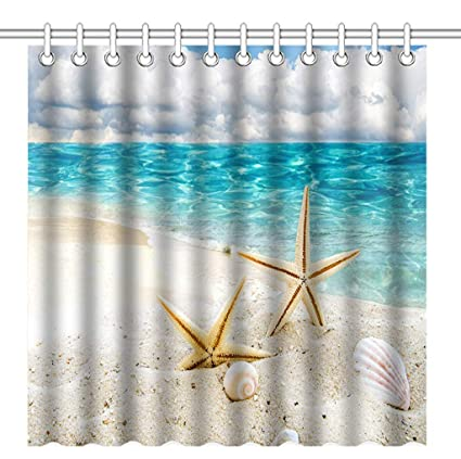 Amazon GOOESING Shower Curtain Set Starfish Seashells On The