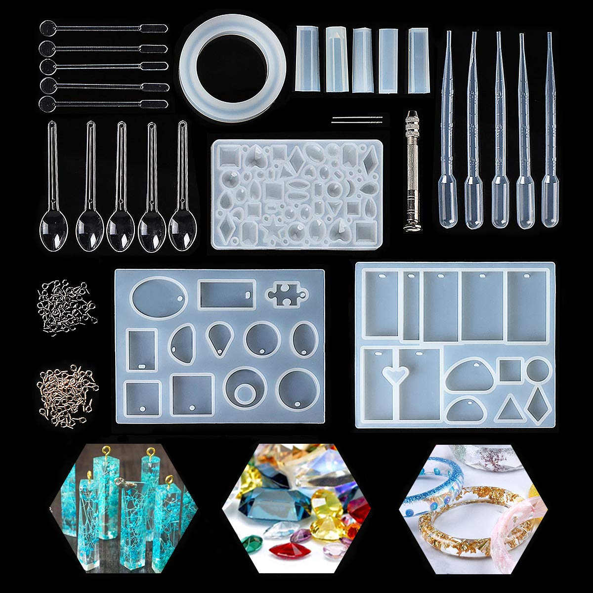 Resin Casting Molds Kits Silicone Mold Making Jewelry Pendant Mould Craft DIY