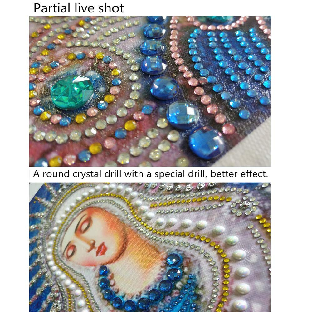 Peacock C DIY 5D Diamond Painting,Diadia Special Shaped Crystal Rhinestone Diamond Embroidery Paintings Arts Cross Craft Wall Decals for Living Room Bedroom