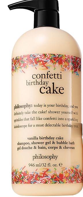 Philosophy Confetti Birthday Cake Shampoo Shower Gel And Bubble Bath Supersized 32 Ounces