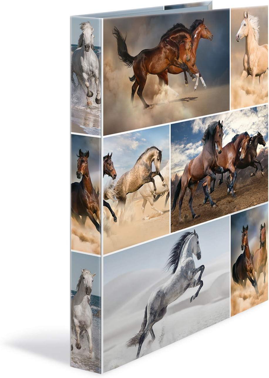 HERMA 19358–Archivador de anillas DIN A4, de cartón serie animales, diseño de perros, 4anillas, lomo de 35mm, 1archivador estrecho, color caballo 4 anillas