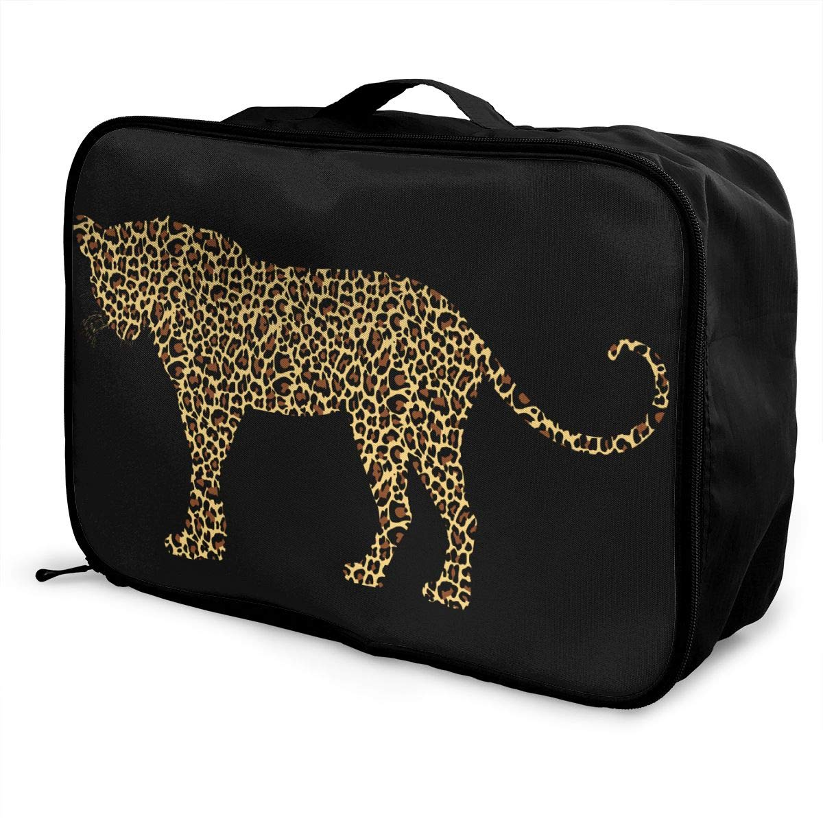 Leopard Big Cat Wild Animal Silhouette Texture Travel Lightweight Waterproof Foldable Storage Carry Luggage Large Capacity Portable Luggage Bag Duffel Bag
