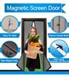 "Magnetic Screen Door Mesh Curtain and Full Frame Velcro-Magnet Door Curtain,Fit Doors Up to 34""x82"" Max,Magic Mosquito Fly Bugs Out"