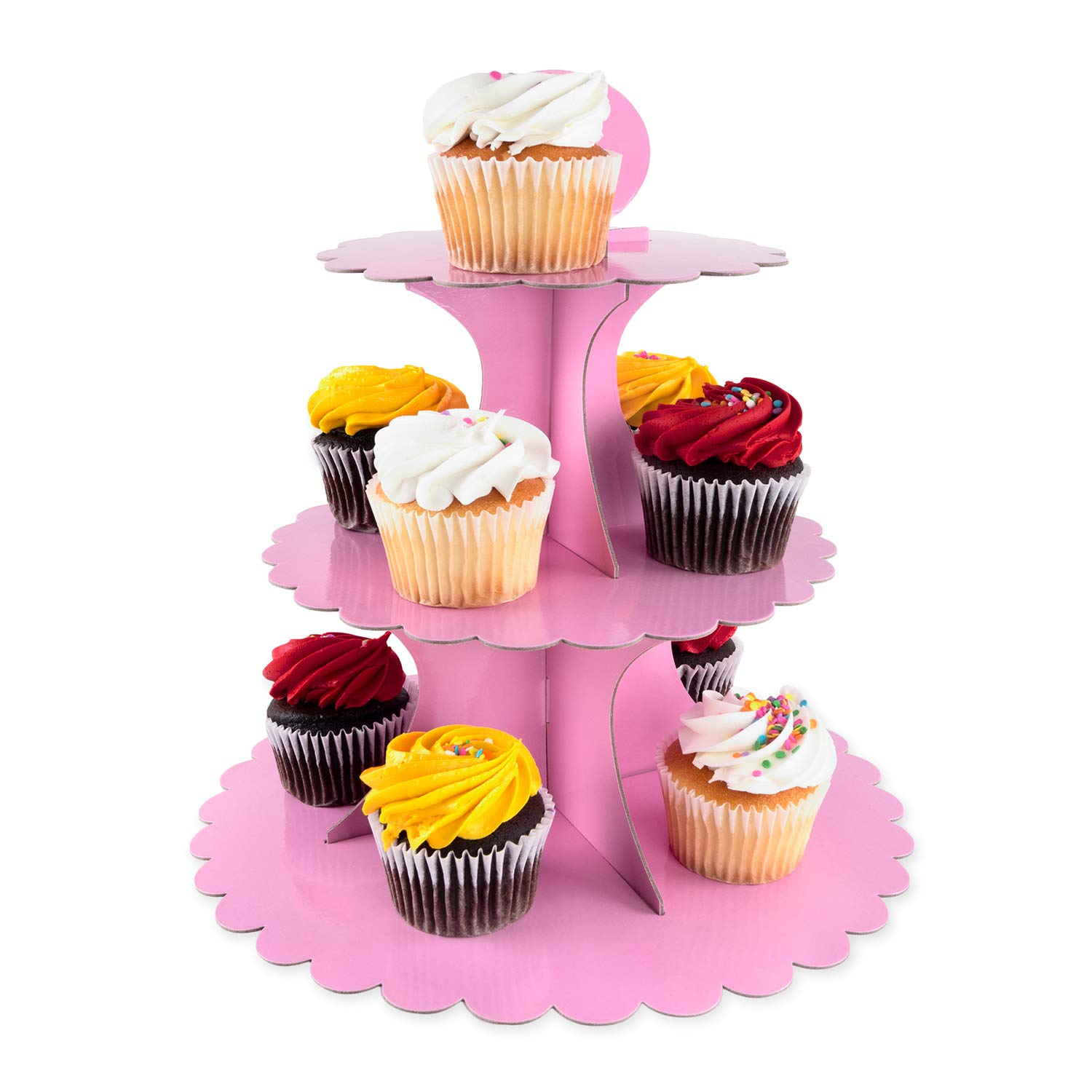 3 Tier Cupcake Cardboard Stand with Blank Canvas Design for Pastry Servings Platter, Birthdays, Dessert Tower Decorations (1 Stand) (Blue)