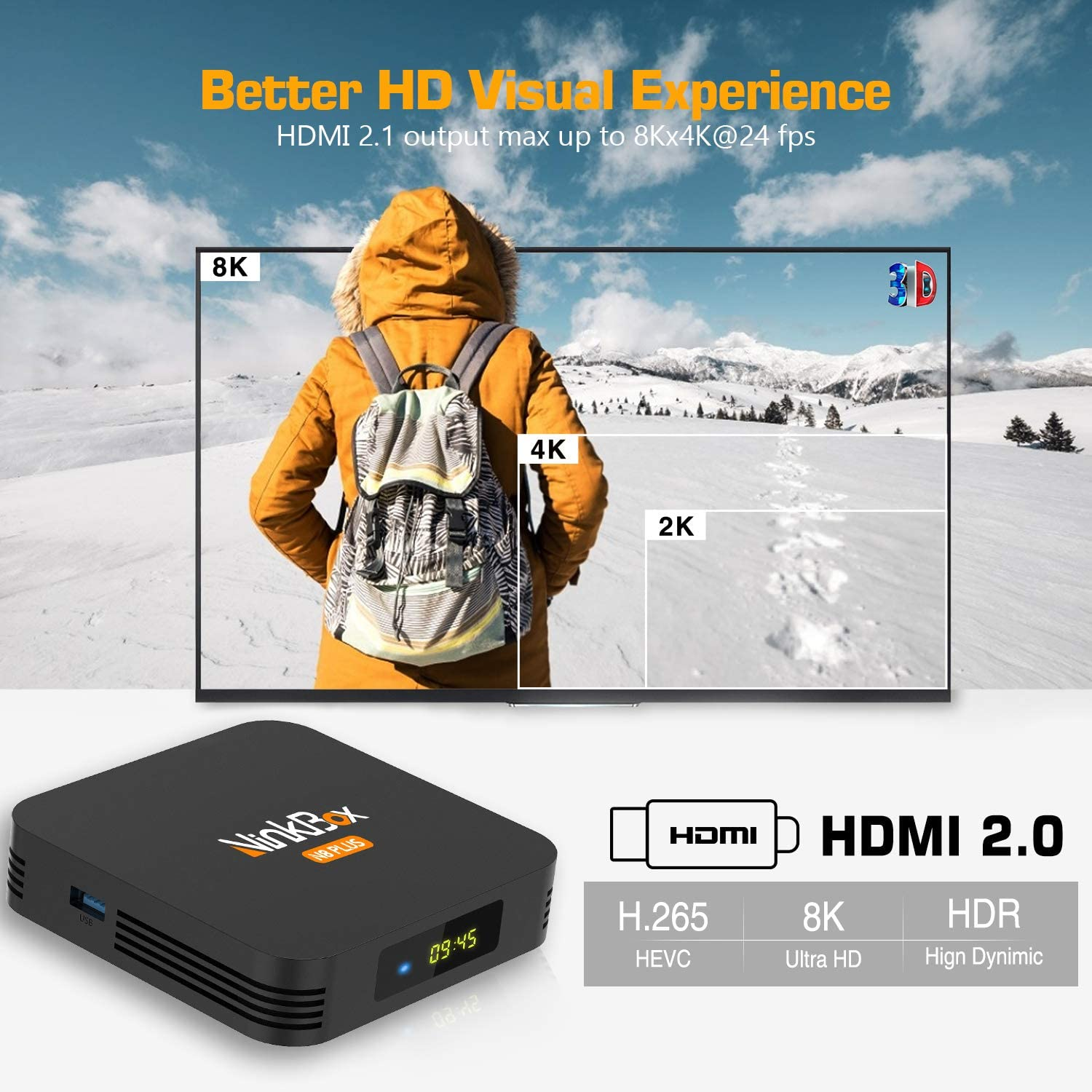 NinkBox Android TV Box 9.0, 【4G+64G】 N8 Plus TV Box Android ...