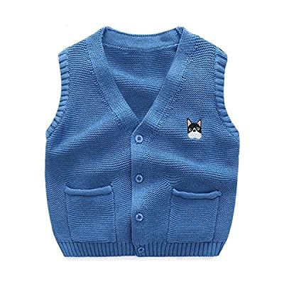 Baby Little Boys Kids Casual Knitted Buttons Dog Embroidery V-neck Sweater Vests