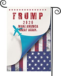 "HLHXMWXY 2020 Trump Garden Flag, Make America Great Again Burlap Flags Vertical Double Sided, 12.5""x18.5"", 2020 President Election Patriotic Garden Yard Outdoor Decoration(T13)"