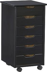 Linon Six Drawer Rolling Storage Corinne Cart, Black 6