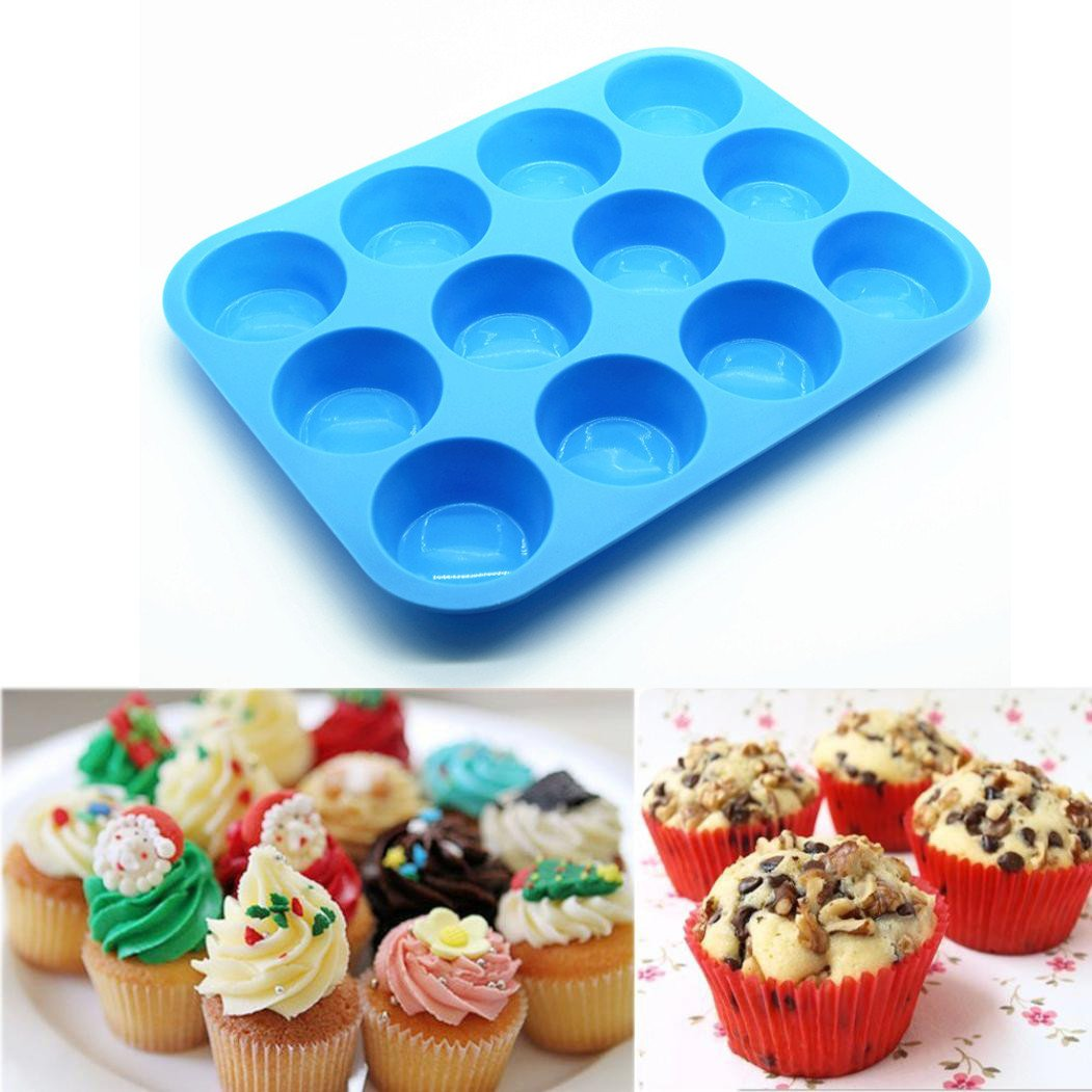 Amaping 12 Cup Cavity Silicone Muffin Cupcake Baking Pan Non Stick Dishwasher Microwave Safe (Blue)