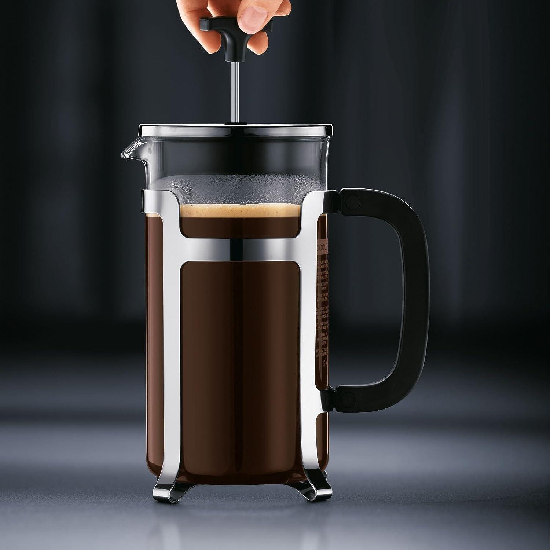 Bodum JESPER Kaffeebereiter gl/änzend French Press System, Verchromter Edelstahlrahmen, 1,0 liters