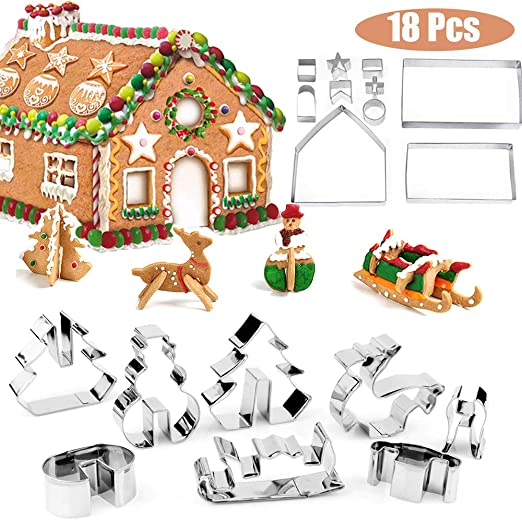 Cristmas Gingerbread ouse Cookie Cake Mold Cutters Biscuit Mold XmasStainless