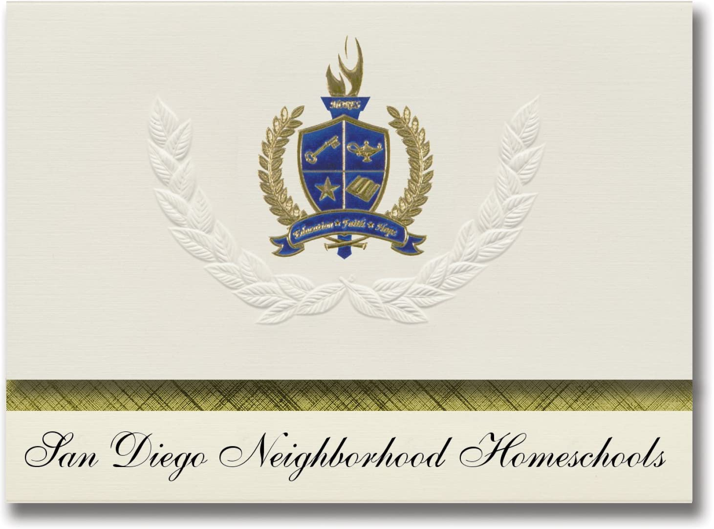 Signature Announcements San Diego Neighborhood Homeschools (Oceanside, CA) Graduation Announcements, Presidential Basic Pack 25 with Gold & Blue Metallic Foil seal