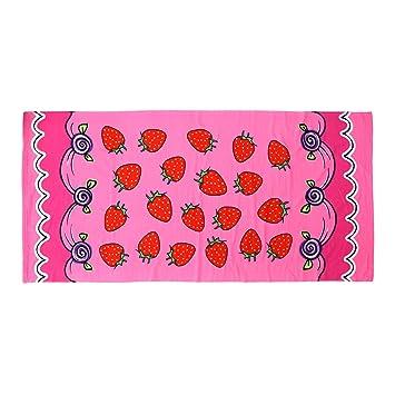 VORCOOL Toalla de Baño de Microfibra Absorbente Secado Rápido para Hogar Hotel SPA con Estampado de Fresas 150 x 70 cm: Amazon.es: Hogar